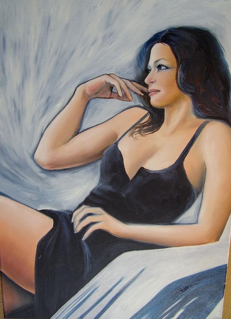 akt a figurální malba-V černém