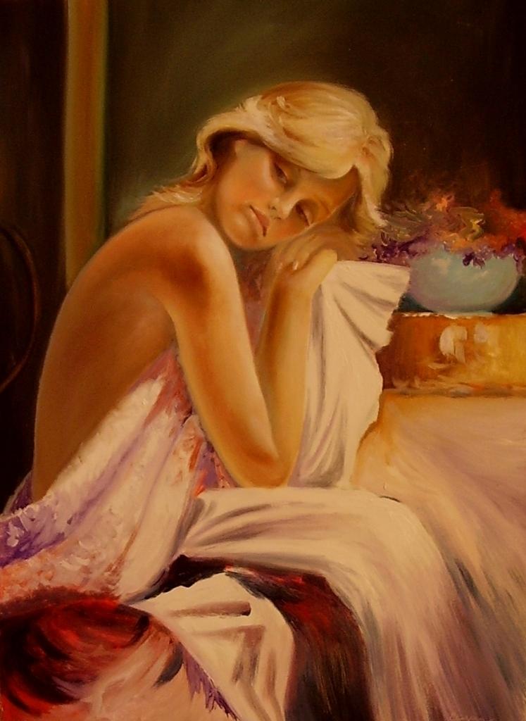 akt a figurální malba-Bleděmodrá váza
