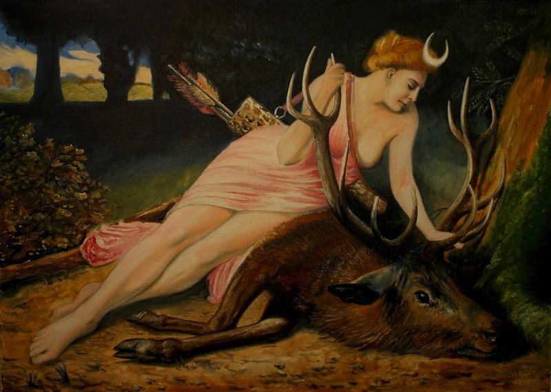 myslivost-Diana s jelenem