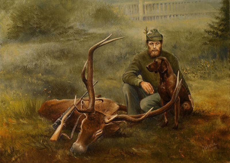 portréty myslivost-Lovecký portrét