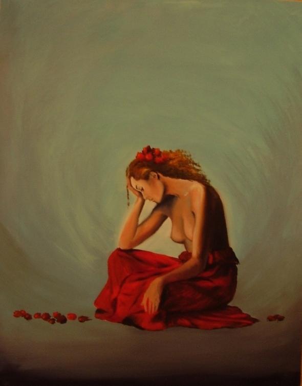 akt a figurální malba-Smutná tanečnice