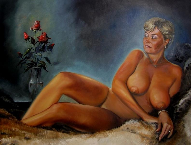 akt a figurální malba-Dáma s růžemi