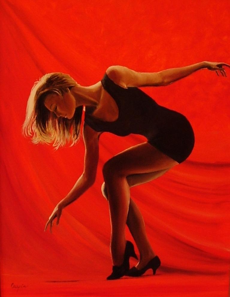akt a figurální malba-Dance on red