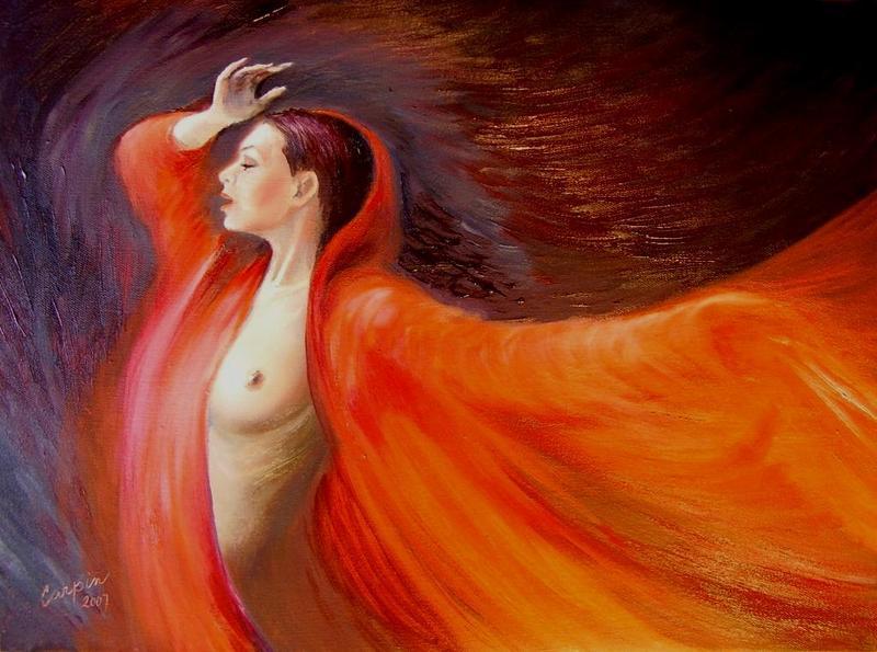 akt a figurální malba-Plamen