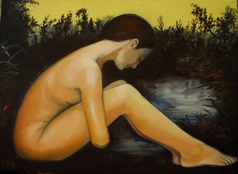akt a figurální malba-Půlnoční jezero